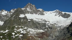 Aiguille des Glaciers, Mont Blanc massif, Val Veny, Alps, Italy Stock Footage
