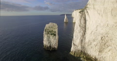 Chalk cliffs near Old Harry Rocks, Isle of Purbeck, Dorset, UK, 4K aerial Stock Footage