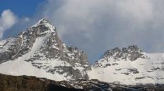 The mountain Gran Paradiso in spring,  Graian Alps, Italy Stock Footage