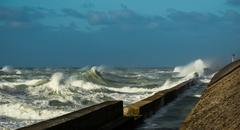 Stormy ocean waves splashing harbour wall, Boulogne-sur-Mer, Pas de Calais, - stock photo