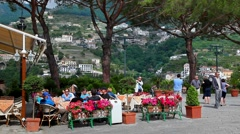 Panorama of town of Scala viewed from Ravello on Amalfi coast, Italy - stock footage