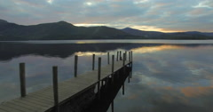 Wooden jetty, Barrow Bay, Derwent Water, Lake District, Cumbria, UK, 4K aerial Stock Footage