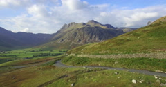 Great Langdale and Langdale Pikes, Lake District, Cumbria, UK, 4K aerial Stock Footage