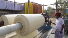Dyeing material process in factory near Jaipur, Rajasthan, India Stock Footage