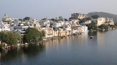 Lake Pichola and the City Palace in Udaipur, Rajasthan, India Stock Footage