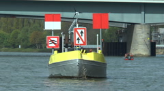 Construction site on River Rhine - warning sign Stock Footage