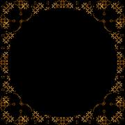 Stock Illustration of Dark Arabic Ornate Background With Round Decorated Borders
