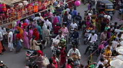 Busy street scene in the Old City, Udaipur, Rajasthan, India - stock footage