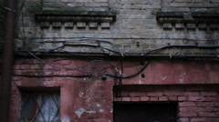 Abandoned brick building, place for torturing people, no way out of difficulty Stock Footage