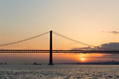 25 de Abril Bridge, Lisbon, Portugal - stock photo