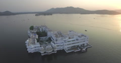Lake Pichola, Udaipur, Rajasthan, India - 4K aerial - stock footage