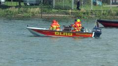DLRG lifeboat patrolling on River Rhine Stock Footage