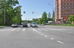 Moscow, Russia - 05.28.2015 - Cars stand at the traffic lights in Zelenograd - stock photo