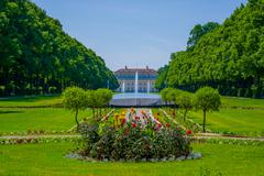 Schleissheim, Germany - July 30, 2015: Main palace building as seen from far Stock Photos