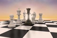 Composite image of black queen surrounded by white pieces - stock illustration