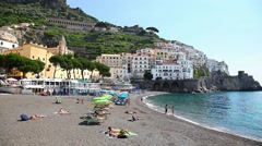 Luxury beach in town of Amalfi coast, Italy - stock footage