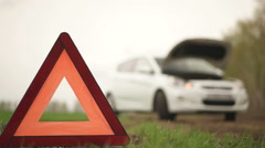 The car with emergency sign Stock Footage