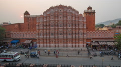 Hawa Mahal (Palace of the Winds), Jaipur, Rajasthan, India - day to night Stock Footage
