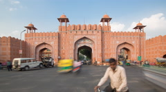 Traffic passing through one of the city gates in Jaipur, Rajastan, India - 4K Stock Footage