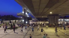 Exercise at Rama 8 Bridge Bangkok Thailand Stock Footage