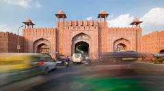 Traffic passing through one of the city gates in Jaipur, Rajastan, India - 4K Stock Footage