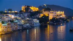 Lake Pichola and City Palace, Udaipur, Rajasthan, India - night 4K timelapse Stock Footage