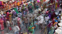 Busy street scene, Old City, Udaipur, Rajasthan, India, elevated 4K timelapse Stock Footage