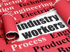 Manufacuring concept: black text Industry Workers under the piece of  torn paper Stock Illustration