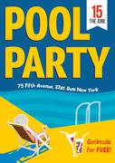 Pool Party. Woman relaxed with a cocktail by the pool. Template  poster design. Stock Illustration