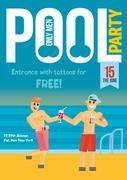 Gay Pool Party. Template for poster design. - stock illustration