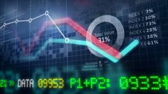 Growing charts. Financial figures and diagrams showing increasing profits. Stock Footage