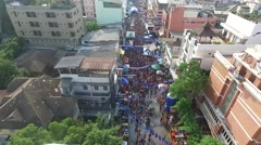 Songkran at Khao San Road Aerial - stock footage