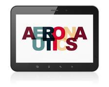 Science concept: Tablet Computer with Aeronautics on  display - stock illustration