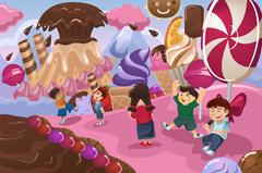 Kids Playing in a Dessert Land - stock illustration