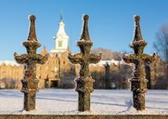 Railings in snow outside Trans-Allegheny Lunatic Asylum - stock photo