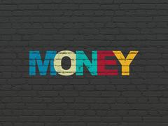 Business concept: Money on wall background Stock Illustration