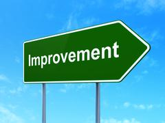 Business concept: Improvement on road sign background Stock Illustration