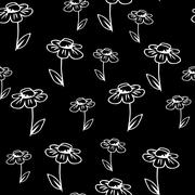 Vector seamless texture background with camomile - stock illustration