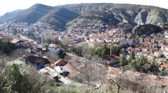 High angle rooftop view of Goynuk, Bolu, Turkey Stock Footage