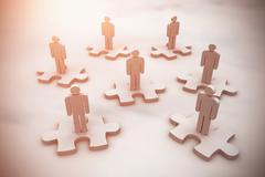 Composite image of human figures on jigsaw - stock illustration