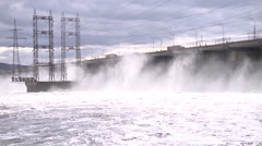 Discharge of water from the dam - stock footage