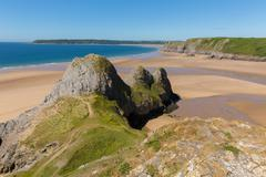 Three Cliffs Bay the Gower Wales uk beautiful Welsh coast Stock Photos