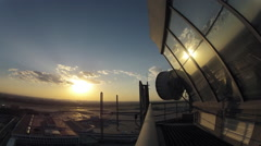 Timelapse. Airport Sunset at Air Traffic Control Tower, Beijing, China. Stock Footage