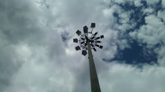 Timelapse. Airport Lamp Post with Clouds in Blue Sky. - stock footage