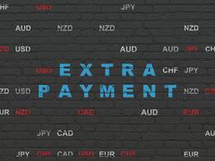 Currency concept: Extra Payment on wall background - stock illustration