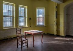 Empty game table inside Trans-Allegheny Lunatic Asylum - stock photo