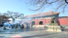 Timelapse/Hyperlapse. Lama Temple with blue sky, Beijing, China. Stock Footage