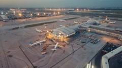 Timelapse. Airport Sunset Aerial View, Beijing, China. Stock Footage