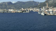 Passing port Mountains Shoreline Toulon France Stock Footage