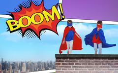 Composite image of masked kids running pretending to be superheroes Stock Photos